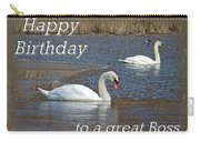 Boss Birthday Card - Mute Swans On Winter Pond Carry-all Pouch
