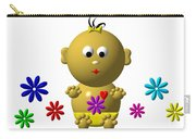 Bouncing Baby Girl With 7 Flowers Carry-all Pouch