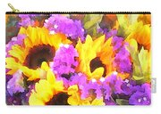 Bouquet Of Sunflowers And Purple Statice Carry-all Pouch