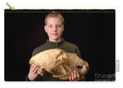 Boy Holding Kodiak Bear Skull Carry-all Pouch