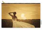 Bride In Yellow Field On Sunset  Carry-all Pouch