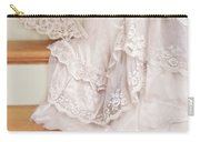 Bride Sitting On Stairs With Lace Fan Carry-all Pouch by Jill Battaglia