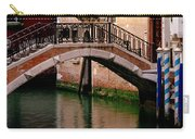 Bridge And Striped Poles Over A Canal In Venice Carry-all Pouch