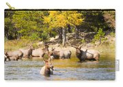 Bull Elk Watching Over Herd 4 Carry-all Pouch