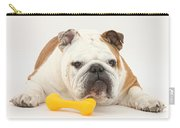 Bulldog With Plastic Chew Toy Carry-all Pouch