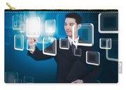 Businessman Pressing Touchscreen Carry-all Pouch by Setsiri Silapasuwanchai