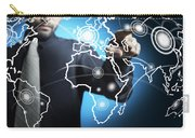 Businessman Touching World Map Screen Carry-all Pouch by Setsiri Silapasuwanchai