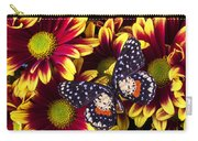 Butterfly On Yellow Red Daises  Carry-all Pouch
