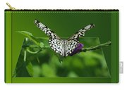 Butterfly White 16 By 20 Carry-all Pouch