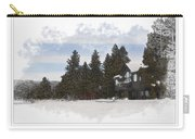 Cabin In Snow With Mountains In Background Carry-all Pouch