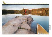 Canoe At A Rocky Shore Autumn Nature Scenery Carry-all Pouch