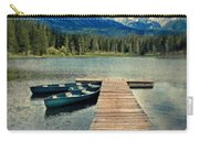 Canoes At Dock On Mountain Lake Carry-all Pouch by Jill Battaglia