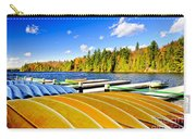 Canoes On Autumn Lake Carry-all Pouch by Elena Elisseeva