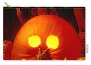 Carved Pumpkin With Fall Leaves Carry-all Pouch