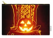 Carved Smiling Pumpkin On Chair Carry-all Pouch