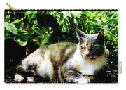Cat Relaxing In Garden Carry-all Pouch