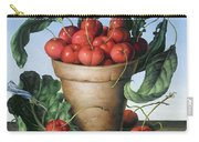 Cherries In Terracotta With Blue Flower Carry-all Pouch