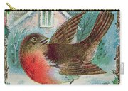 Christmas Card Depicting A Robin  Carry-all Pouch