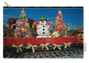 Christmas Snowman On Rails Carry-all Pouch