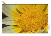 Close Up Of The Inside Of A Yellow And White Sun Flower Carry-all Pouch