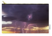 Cloud To Ground Lightning At Sunset Carry-all Pouch