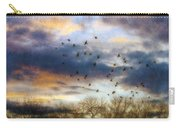 Cloudy Sunset With Bare Trees And Birds Flying Carry-all Pouch