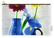 Cobalt Blue Glass Bottles And Gerbera Daisies Carry-all Pouch