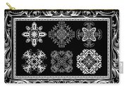 Coffee Flowers Ornate Medallions Bw 6 Piece Collage Framed  Carry-all Pouch