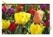 Colorful Bright Tulip Flowers Field Tulips Floral Art Prints Carry-all Pouch