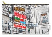Colorful Neon Sign On Bourbon Street Corner French Quarter New Orleans Colored Pencil Digital Art Carry-all Pouch