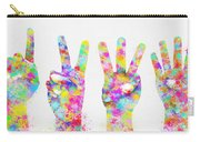 Colorful Painting Of Hands Number 0-5 Carry-all Pouch by Setsiri Silapasuwanchai