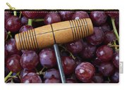 Corkscrew And Wine Cork On Red Grapes Carry-all Pouch