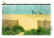 Couple Walking Dog On Beach Carry-all Pouch by Jill Battaglia