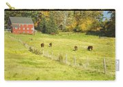 Cows Grazing On Grass In Farm Field Fall Maine Carry-all Pouch
