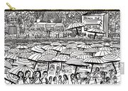 Crowded Beach Black And White Carry-all Pouch