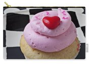 Cupcake With Heart On Checker Plate Carry-all Pouch by Garry Gay