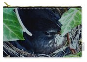 Cute Black Bird Mum Watching Over Her Eggs In Her Nest Carry-all Pouch