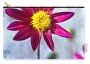 Dark Pink Dahlia On Blue Carry-all Pouch