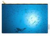 Diver And School Of Fish In Blue Water Carry-all Pouch