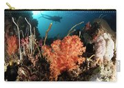 Diver Explores A Coral Reef Carry-all Pouch