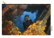 Diver Explores The Liberty Wreck, Bali Carry-all Pouch