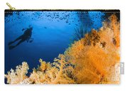 Diver Hovering Over Soft Coral Reef Carry-all Pouch