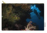 Diver In Soft Coral Seascape, Fiji Carry-all Pouch