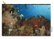 Diver Over Reef Seascape, Indonesia Carry-all Pouch