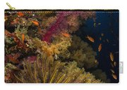 Diver Swims By Soft Corals And Crinoid Carry-all Pouch
