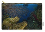 Diver Swims Over A Reef, Belize Carry-all Pouch