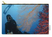 Divers Swimming By Sea Fans, Indonesia Carry-all Pouch
