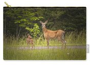 Doe And Fawn Along A Roadside Near Iron Mountain Michigan. Carry-all Pouch