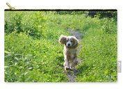 Dog Running In The Green Field Carry-all Pouch