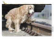Dog Walking Over Railroad Tracks Carry-all Pouch